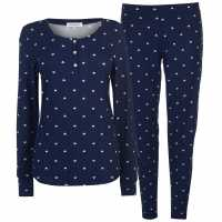 Rock And Rags Patterned Pj Set Ladies Navy Дамски пижами
