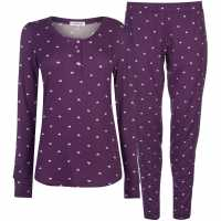 Rock And Rags Patterned Pj Set Ladies Purple Дамски пижами
