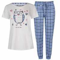 Rock And Rags Дамски Комплект Пижама Short Sleeve Pyjama Set Ladies Owl Дамски пижами