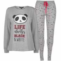 Miso Long Sleeve Pj Set Ladies Panda Дамско облекло плюс размер
