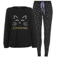 Miso Long Sleeve Pj Set Ladies Cat Black Дамско облекло плюс размер