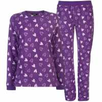 Miso Micro Fleece Pj Set Ladies Purple Hearts Дамски пижами