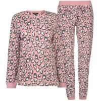 Miso Micro Fleece Pj Set Ladies Pink Leopard Дамски пижами