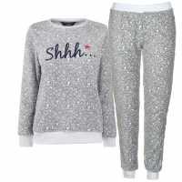 Miso Дамски Комплект Пижама Cuddle Fleece Pyjama Set Ladies Grey SHHH Дамски пижами