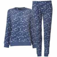 Miso Дамски Комплект Пижама Cuddle Fleece Pyjama Set Ladies Navy Stars Дамски пижами
