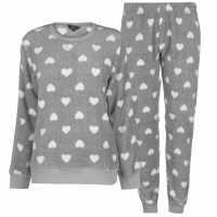 Miso Дамски Комплект Пижама Cuddle Fleece Pyjama Set Ladies Grey Hearts Дамски пижами