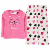 Crafted Cuddle Fleece Pyjama Set Infants Pink Cat Girl Детски пижами