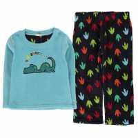 Crafted Essentials Cuddle Fleece Pyjama Set Infants Blue Dino Boy Детски пижами