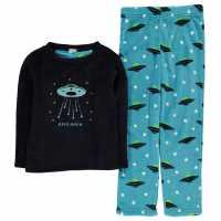 Crafted Cuddle Fleece Pyjamas Junior Navy Space Детски пижами