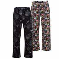 Character 2 Pack Pyjama Bottoms Mens  Мъжко облекло за едри хора