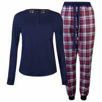 Soulcal Дамски Комплект Пижама 3 Piece Flannel Pyjama Set Ladies Navy Check Дамски пижами