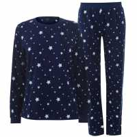 Miso Дамски Комплект Пижама Micro Fleece Pyjama Set Ladies Navy Stars Дамски пижами