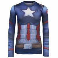 Marvel Външен Слой Деца Ls Baselayer Top Junior Boys Captain America Детски основен слой дрехи
