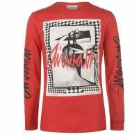 Airwalk Мъжка Блуза Graphic Long Sleeve T Shirt Mens Red Мъжки тениски и фланелки