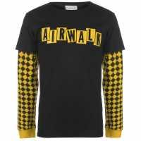 Airwalk Мъжка Тениска Long Sleeve Layer T Shirt Mens Black/Yellow Мъжки тениски и фланелки