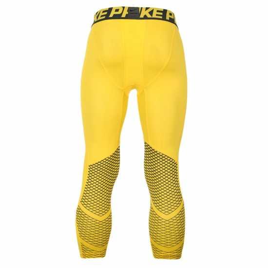 Nike Мъжки Клин Hypercool Three Quarter Training Tights Mens Yellow Мъжки долни дрехи