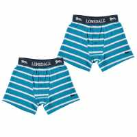 Lonsdale Детски Боксерки 2Бр. В Опаковка 2 Pack Boxers Junior Blue/Wht Stripe Детско бельо