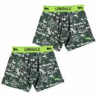 Lonsdale Детски Боксерки 2Бр. В Опаковка 2 Pack Boxers Junior Khaki Grunge Детско бельо