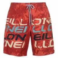 Oneill Мъжки Бермуди Print Board Shorts Mens Red Мъжки къси панталони