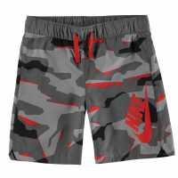 Nike Момчешки Къси Гащи Camo Woven Shorts Junior Boys Grey/Red Детски къси панталони