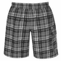 Lonsdale Мъжки Шорти 2 Stripe Checked Shorts Mens Black Мъжки къси панталони