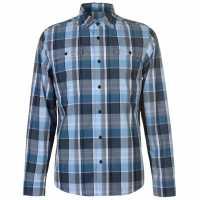 Spyder Мъжка Риза Дълъг Ръкав Crucial Long Sleeve Shirt Mens F. Blue Plaid Мъжко облекло за едри хора