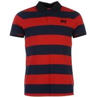 Helly Hansen Мъжко Поло На Ивици Stripe Polo Mens Red/Evening Blu Мъжки тениски с яка
