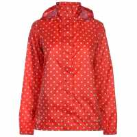 Gelert Непромокаемо Яке Packaway Womens Waterproof Jacket Red Polka Dot Дамски якета и палта