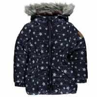 Gelert Storm Parka Infant Girls Navy Polka Dot Детски якета и палта
