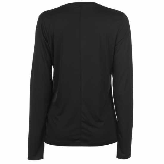 Asics Дамска Тениска За Бягане Long Sleeve Running T Shirt Ladies Black Дамски тениски и фланелки