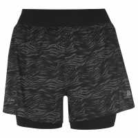 Karrimor Дамски Шорти 2В1 2 In 1 Shorts Ladies Black AOP Дамски клинове за фитнес
