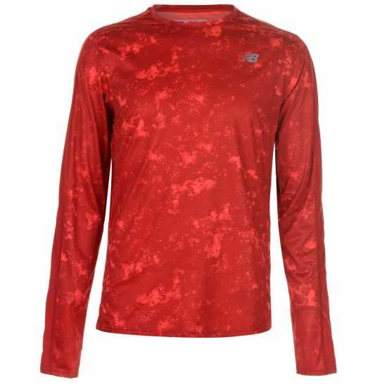 New Balance Мъжка Блуза Accelerate Long Sleeve T Shirt Mens Red/Arctic Camo Мъжки тениски и фланелки