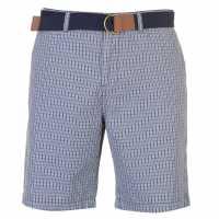 Pierre Cardin Мъжки Шорти Check Belted Shorts Mens Grey Check Мъжки панталони чино