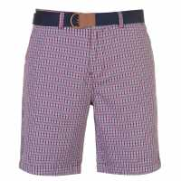 Pierre Cardin Мъжки Шорти Check Belted Shorts Mens Red Check Мъжки панталони чино
