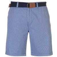 Pierre Cardin Мъжки Шорти Check Belted Shorts Mens Royal Check Мъжки панталони чино