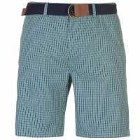 Pierre Cardin Мъжки Шорти Check Belted Shorts Mens Green Check Мъжки панталони чино