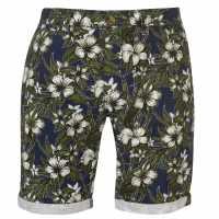 Soulcal Мъжки Къси Гащи Чино All Over Print Chino Shorts Mens Aqua Floral Мъжки панталони чино