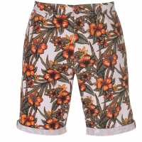 Soulcal Мъжки Къси Гащи Чино All Over Print Chino Shorts Mens Orange Floral Мъжки панталони чино