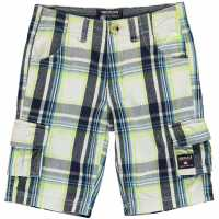 Soulcal Момчешки Къси Гащи Checked Cargo Shorts Junior Boys Nvy/OffWht/Lime Детски къси панталони