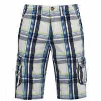 Soulcal Карирани Мъжки Къси Гащи Check Cargo Shorts Mens Nvy/OffWht/Grn Мъжко облекло за едри хора