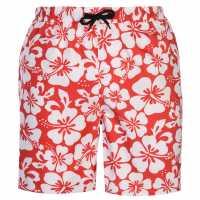 Hot Tuna Мъжки Плувни Шорти Aloha Swim Shorts Mens Red/White Мъжки къси панталони