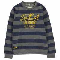 Soulcal Yarn Dye Crew Sweatshirt Junior Boys Navy/Charcoal Детски горнища и пуловери