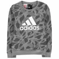 Adidas Crew Sweater Junior Girls Med Grey Детски горнища и пуловери