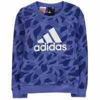 Adidas Crew Sweater Junior Girls HiRes Blue Детски горнища и пуловери