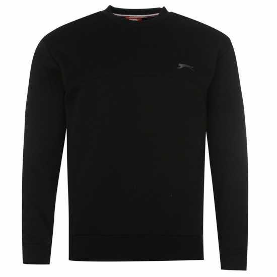 757342e7f0b Slazenger Мъжки Пуловер Обло Деколте Sl Fleece Crew Sweater Mens Black Мъжки  пуловери и жилетки