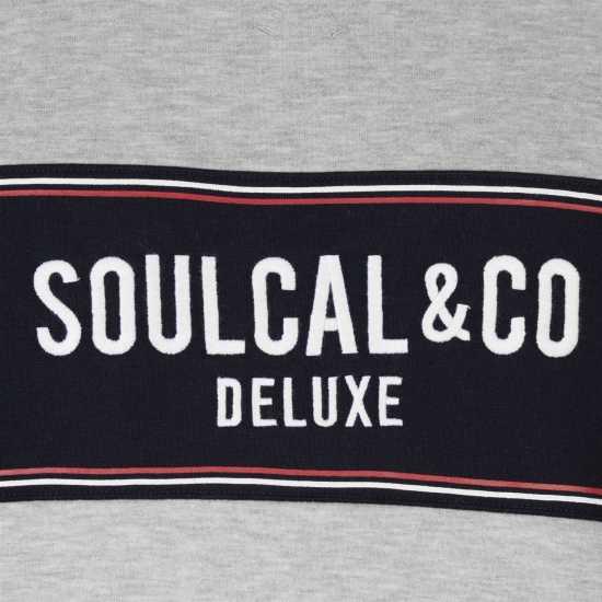 Soulcal Блуза Обло Деколте Deluxe Panel Crew Neck Sweatshirt Grey Marl Мъжки полар