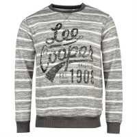Lee Cooper Мъжки Пуловер Обло Деколте Tex Aop Crew Sweater Mens Grey/White Мъжки полар