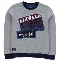 Airwalk Logo Sweatshirt Junior Grey Детски суитчъри и блузи с качулки