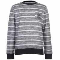 Lee Cooper Мъжки Пуловер Обло Деколте Textured Aop Crew Sweater Mens Grey/White Мъжки полар