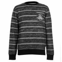 Lee Cooper Мъжки Пуловер Обло Деколте Textured Aop Crew Sweater Mens Black/Char Мъжки полар
